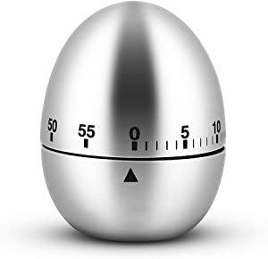 Egg/Apple Kitchen Timer Cute Manual, Stainless Steel Metal Mechanical Visual Countdown Cooking Timer With Loud Alarm for Kitchen Cooking Baking Sports Kids (egg timer)