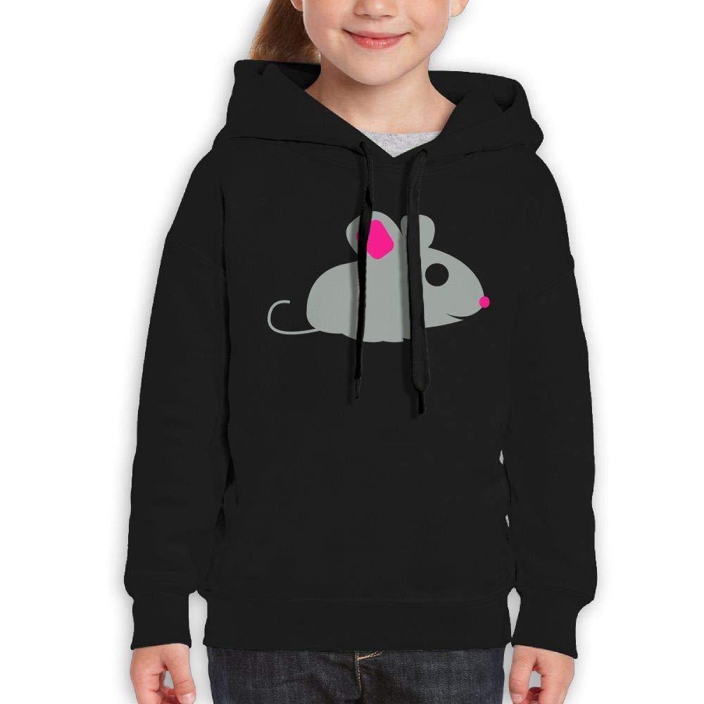 Qiop Nee Gray Pink Mouse Youth Hoody Print Long Sleeve Sweatshirt Girls'