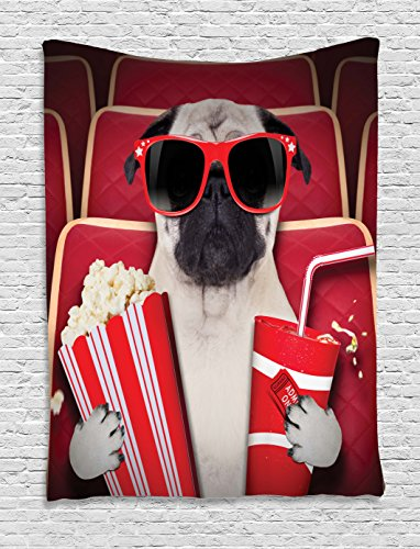 Pug Tapestry, Funny Dog Watching Movie Popcorn Soft Drink