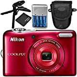 Nikon COOLPIX L32 Digital Camera (Red) 5PC Accessory Bundle – Includes Pistol Grip/Tabletop Tripod + 4x AA Batteries with Charger + MORE