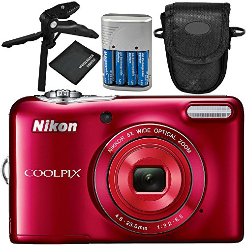 Nikon COOLPIX L32 Digital Camera (Red) 5PC Accessory Bundle – Includes Pistol Grip/Tabletop Tripod + 4x AA Batteries with Charger + MORE by Nikon