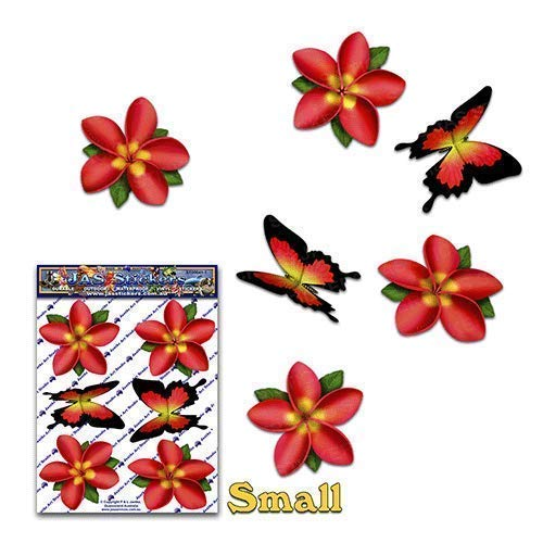 Flor Rojo Ú nico Frangipani Plumeria + Mariposa animal etiquetas engomadas del coche del paquete - ST00041RD_SML - JAS Stickers