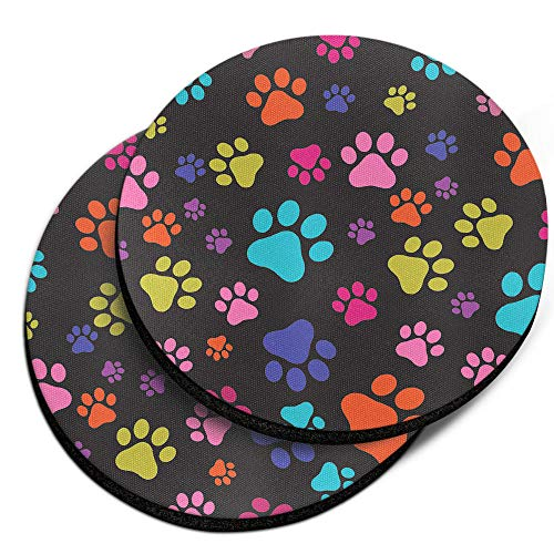 (CARIBOU Coasters, Multicolor Paws Dog Design Absorbent ROUND Fabric Felt Neoprene Car Coasters for Drinks, 2pcs Set)