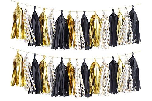Aimto 30pcs Shiny Tassel Garland Banner Tissue Paper Tassels-(Metallic Gold,Black,Gold Twill)