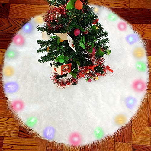 BIGOU Christmas Tree Skirt with LED Light, 30 Inch 2 Modes Snow White Luxury Faux Fur Tree Skirts Base Cover Floor Mat Christmas Lighting Decorations for Xmas Party Holiday Home Garden from BIGOU