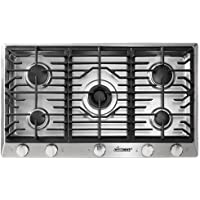 Dacor RNCT365GSNG 36 Renaissance Natural Gas Cooktop with 5 Sealed Burners Die Cast Knobs Perma-Flame Technology Continuous Grates and Smart Flame Technology: Stainless