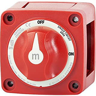 """Blue Sea Systems m-Series Mini On-Off Battery Switch with Knob- Red, 2-7/8"""" x 2-7/8"""" (6006)"""