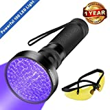 UV Black Light Flashlight - Super Bright 100 LED #1 Best Pet Dog Cat Urine Detector light Flashlight for Pet Urine Stains - UV Blacklight Flashlight with UV Sunglasses for Bed Bugs Scorpions - Home Hotel