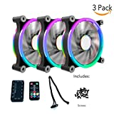 CloverTale 3 Pack Set RGB LED 120mm Case Fan with Controller, Quiet Edition High Airflow Adjustable Color LED Case Fan for PC Cases, CPU Coolers,Radiators System