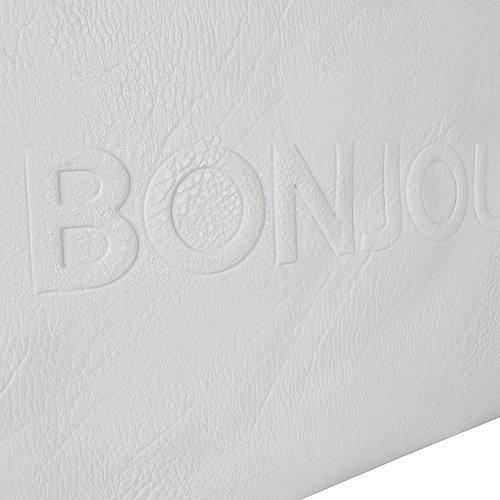 Street Level 5763 Bonjour/Au Revoir Clutch white