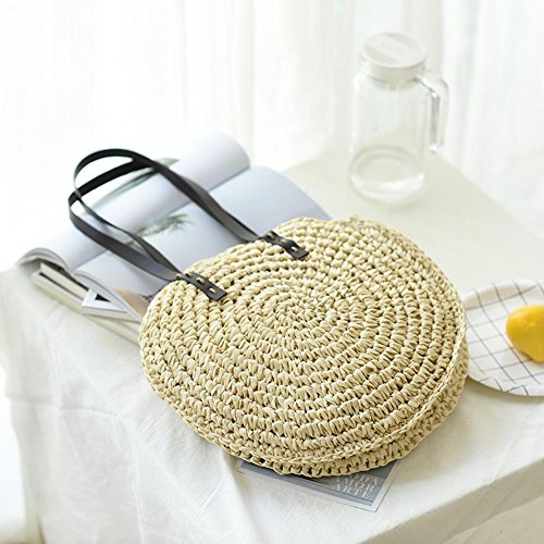 bolso bandolera al bandolera bolso de pajitas aire para libre mujer para viaje playa de verano redonda uso de bolsa de Bolsa doble bolso de bolsa hombro de pajita vWSgw4