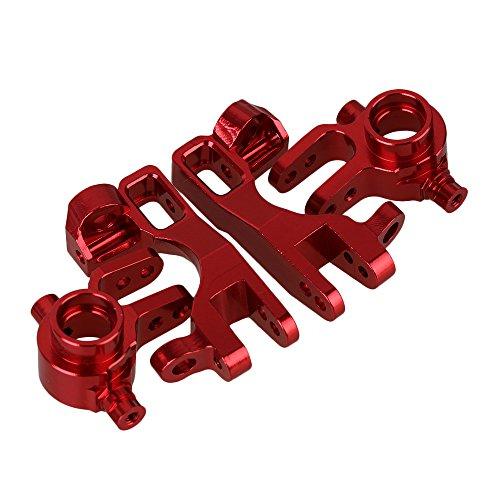 Mxfans Red Aluminum Alloy SLA002 SLA003 Steering Hub & Front C-Hub Carrier RC1:10 TRAXXAS Slash 4x4 & HQ 727 Short Truck Set of 2