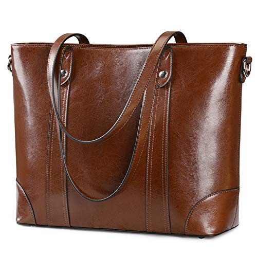 (S-ZONE 15.6 Inch Leather Laptop Bag for Women Shoulder Bag Large Work Tote with Padded Compartment (Dark Brown))