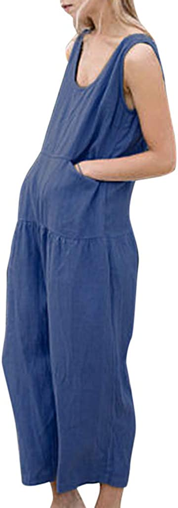 4Clovers Women Outfit Linen Sleeveless Plus Size Romper Ruched Casual Loose Wide Leg Long Jumpsuit with Pocket