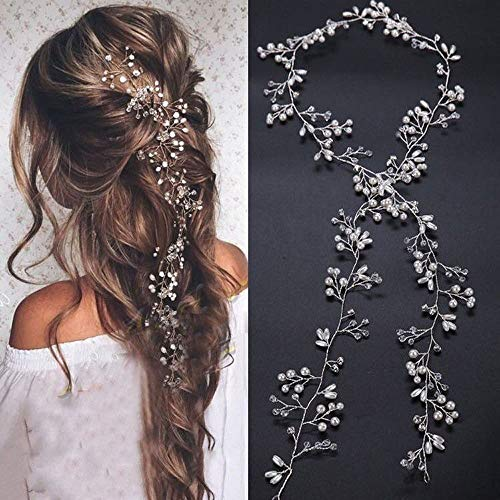 Bridal Rose Pearl - Deniferymakeup Bridal Rose Gold and Gold Silver Extra Long Pearl and Crystal Beads Bridal Hair Vine Wedding Head Piece Bridal Hair Accessories Headband Hair Jewelry Hair Accessories (Rose gold)