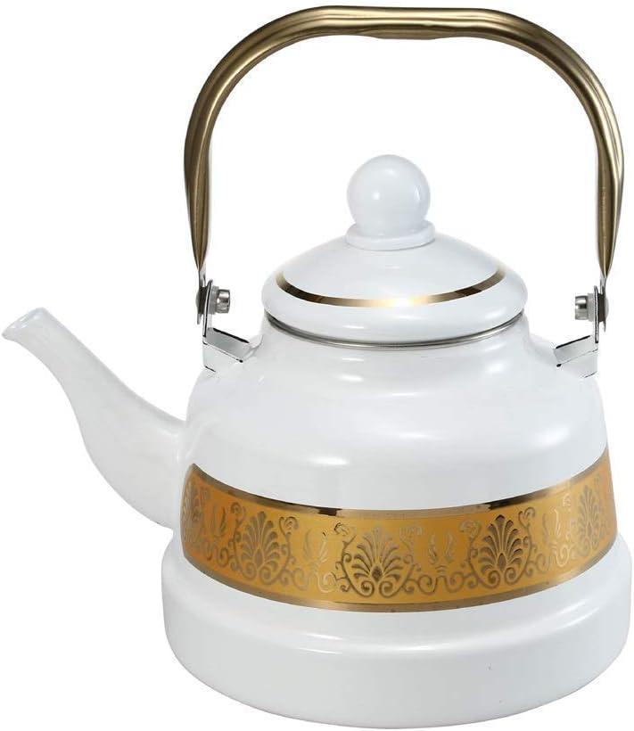 1.1L-2.5L Blanco Hervidor de hervidor de caldera del esmalte del esmalte del esmalte del esmalte del esmalte de la tetera esmaltada para la estufa de gases del esmalte del esmalte (blanco, 2.5l) Teter