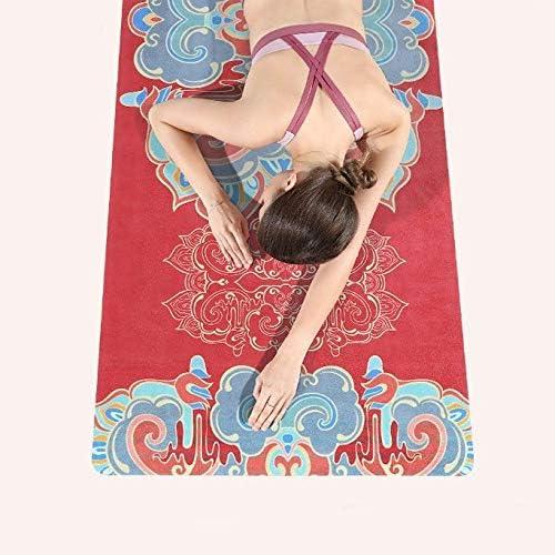 Yoga mat ノンスリップ旅行折り畳み式ヨガマットエクササイズマットの品質は床運動、フィットネス、ホットヨガ173センチX 61 Cmのに適した0.1cmの超薄型軽量ピラティスマットを、印刷します workout (色 : White)