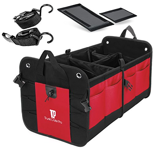 Trunkcratepro Collapsible Portable Multi Compartments Trunk Organizer, Red (Folding Tailgate Step)