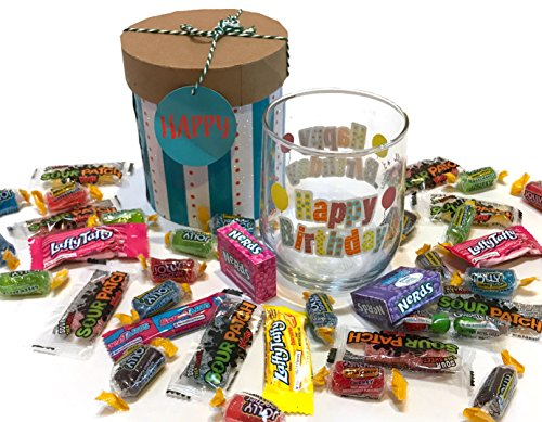 12 oz Birthday Wine Glass with Quality Candies - Birthday Gift - Birthday Present (Happy Birthday - Light Blue, Stemless, With Hard (Halloween Teacher Gift Sayings)