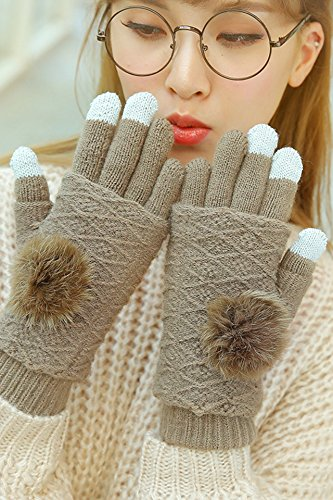 Generic rabbit hair knitted _pointer_ball_full_ touch screen gloves women girl autumn _and_ winter _plus_ velvet thick warm Korean style lovely _half_refers_to_ cycling students .
