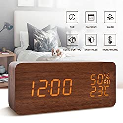 Alarm Clock for Kids---FiBiSonic Wood Digital Clock Small Brown&Orange Led Clock, Displays Time Date Hygrometer And Temperature,Silent Modern Style with Thermometer and Hygrometer