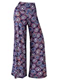Arrisol Women's Stretchy Wide Leg Palazzo Lounge Pants (Large, Floral 7)