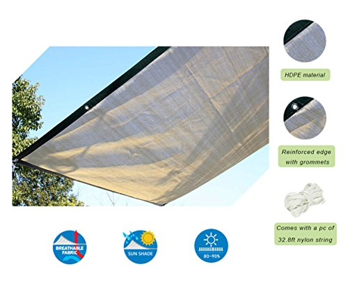 Insun Shade Cloth with Grommets Tan Beige 90 Sunblock HDPE Shade Cloth for Plants 13.3ft19.7ft