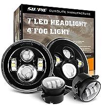 """7"""" Daymaker LED Headlights Projection for Jeep Wrangler Unlimited JK JKU TJ LJ Rubicon Sahara 1997~2017 + 4"""" Fog Lights Driving Lamp Front Bumper Lights"""