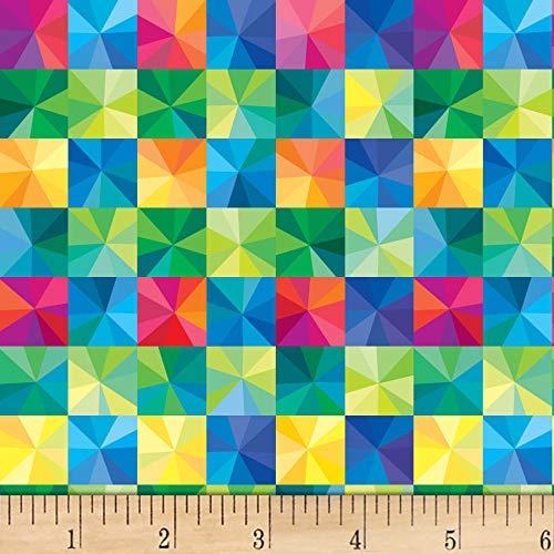 P&B Textiles Winter Lights Starburst Checks Multi Fabric by the ()