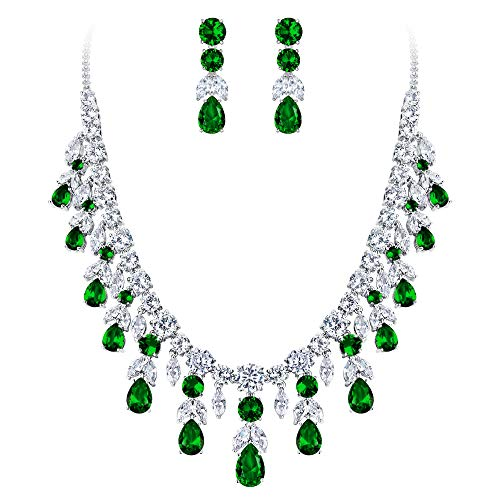Jewelry Costume Formal (BriLove Wedding Bridal Necklace Earrings Jewelry Set for Women CZ Cluster Leaf Teardrop Statement Necklace Dangle Earrings Set Emerald Color Silver-Tone)