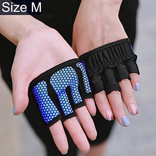 (WAN Xiang KA Outdoor Sport Accessories Half Finger Yoga Gloves Anti-Skid Sports Gym Palm Protector, Size: M, Palm Circumference: 18cm(Black) Used for Outdoor Sport (Color : Blue))