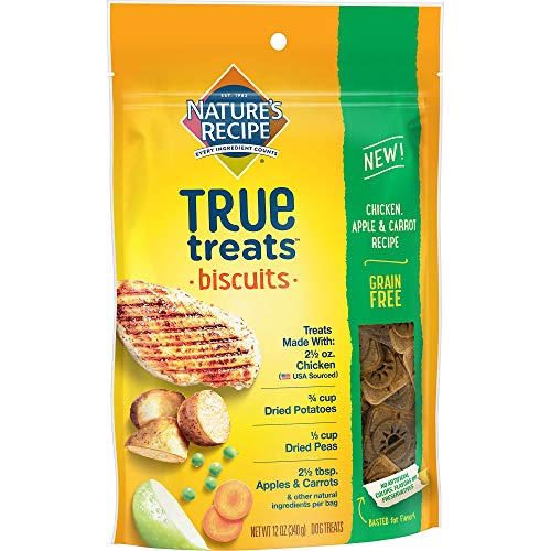 Recipes Dog Treat Apple (Nature's Recipe True Treats, Chicken, Apple, and Carrot Recipe, Grain Free, Dog Biscuits, 12 Ounce Bag (Pack of 5))