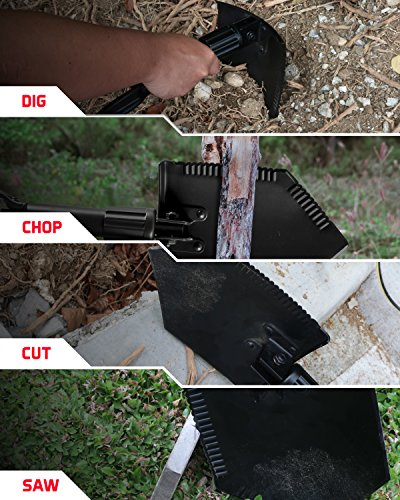 TAC9ER Collapsible E-Tool Shovel - Portable, Metal, Folding, Tactical Military Shovel with Serrated Steel Blade and Carrying Case for Camping, Backpacking, Gardening, and Survival by TAC9ER (Image #5)