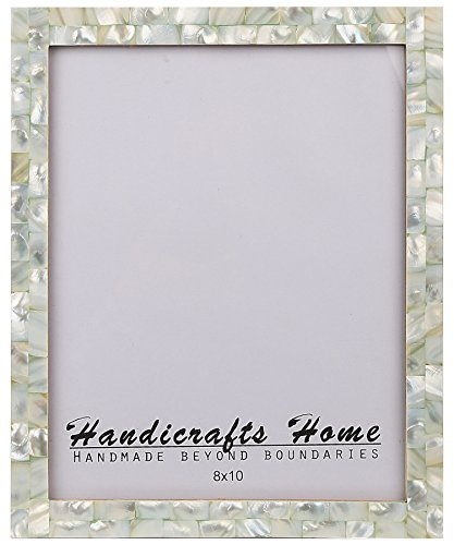 8×10 Picture Frames Chic Photo Frame Mother of Pearl Handmade Vintage from Handicrafts Home (8×10, Green)