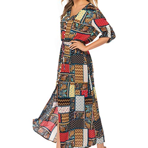 Qingell Wome Summer Bohemian Neck Tie Vintage Printed Ethnic Style Summer Shift Dress Beach Swing Dress Red