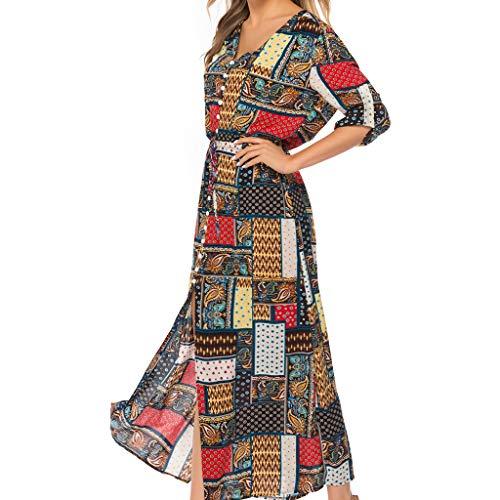 Qingell Wome Summer Bohemian Neck Tie Vintage Printed Ethnic Style Summer Shift Dress Beach Swing Dress - Swing Necktie