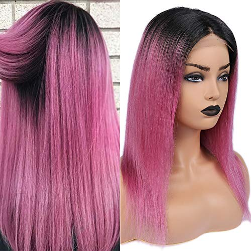 Human Hair Wig 4x4 Lace Front Wigs With Baby Hair Straight Middle Part Ombre Brazilian Virgin Wigs For Black Women 12inch (Black to Purple Pink) ()