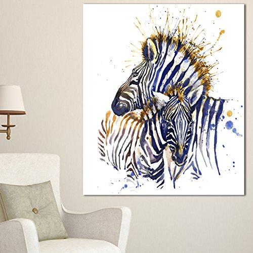 Metal Zebra Wall (Designart MT13449-12-28 Zebra Watercolor Rightwards - Large Animal Glossy Metal Wall Art - 12x28,Blue,12x28)