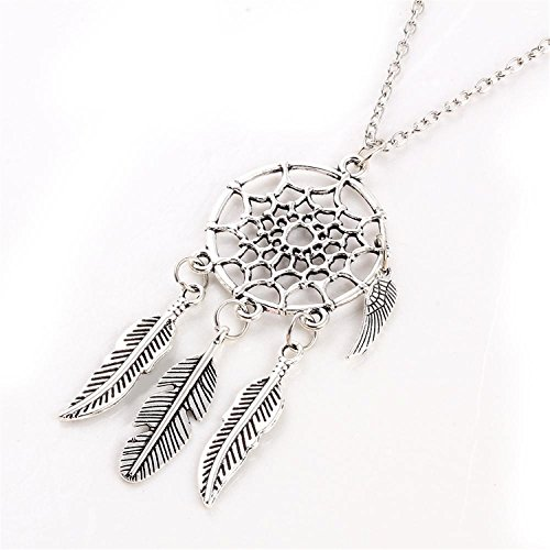 Baqijian Vintage Leaves Pendant Necklace Silver Color Girl Bib Chokers Pendants Necklaces Collares (Germany Clip Earrings)