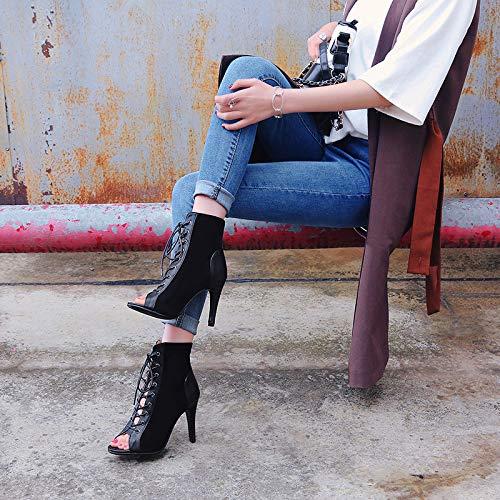 Toe Mujeres Obra De Peep Zapatos Zpfme Aguja Black Tacon Fiesta Sandalias 87d18qWp