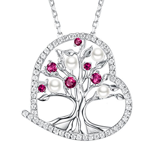 July Birthstone Gifts Love Heart the Tree of Life Necklace for Women Created Red Ruby and White Pearl Fine Jewelry Anniversary Birthday Gifts for Her Wife Lady Pendant Sterling Silver (Nice White Pearl Necklace)