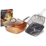 Copper Chef (5 piece) Non-Stick 9.5 Large Deep Sided Square Pan Kit - As seen on High Street TV by High Street TV