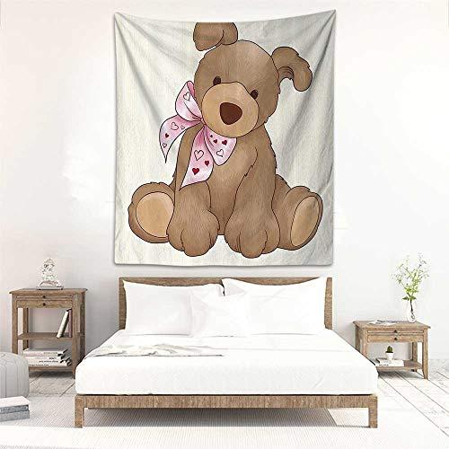 Godves Wall Tapestry Kids Decor Vector Cute Rabbit Bunny Like Teddy Bear with Bow Children Nursey Room Art Print Tapestry for Home Decor 51