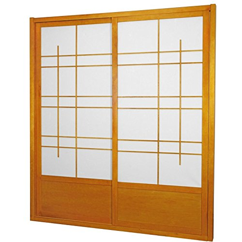 ORIENTAL FURNITURE 7 ft. Tall Eudes Shoji Sliding Door Kit (Double - Sided) - Honey