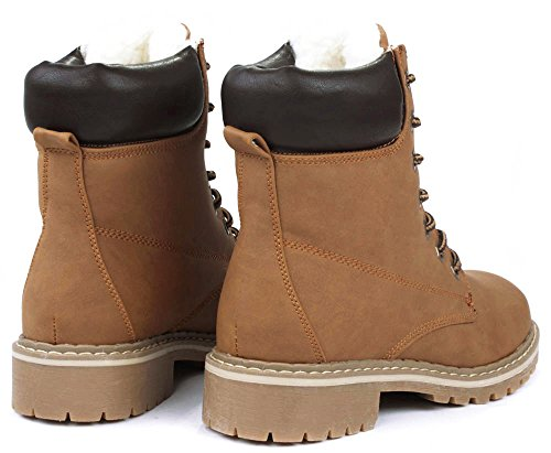 High Broadway Tan Faux Lined Top Combat Military Wool Faux Fur Lace Up Nubuck Boots Ankle r8rAxUa