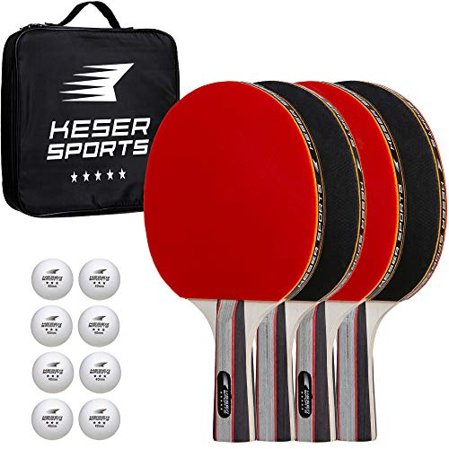 Keser Sports 5-Star Ping Pong Paddle Set, 4-Player Racket Set Bundle, 8 Professional ABS Balls, Portable Storage Bag, Full Table Tennis Set, Advanced Spin, Speed & Control, Play Outdoors/Indoors