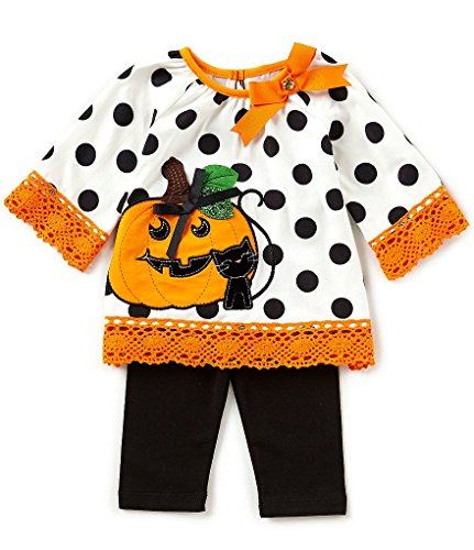 Rare Editions Baby Girls Halloween Pumpkin Top and