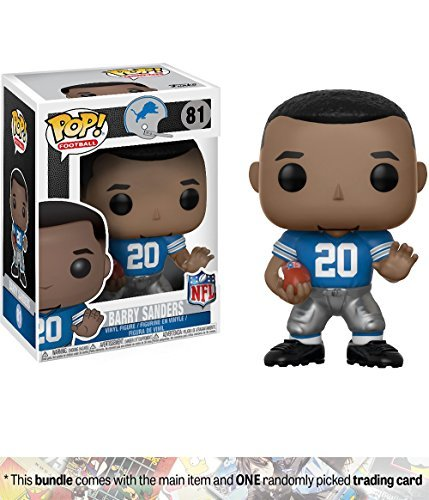 Funko Barry Sanders [Lions Home] POP! Football x NFL Legends Vinyl Figure + 1 Official NFL Trading Card Bundle (20196)