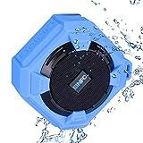 Amuoc Bluetooth Speakers, Portable IP65 Waterproof Outdoor/Shower Bluetooth Speaker Rugged Hi-Def Bass Sound with 10Hr Playtime, Blue