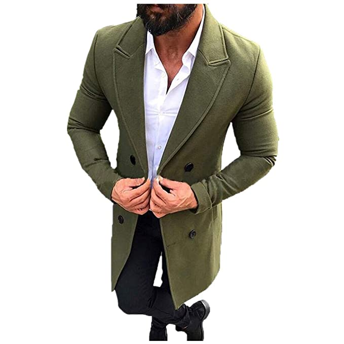 on wholesale 100% authenticated shop Man Trench Coat,Ronamick Men Autumn and Winter Vintage Trench Long Outdoor  Button Woolen Windbreaker Soft Thick Overcoat Coats